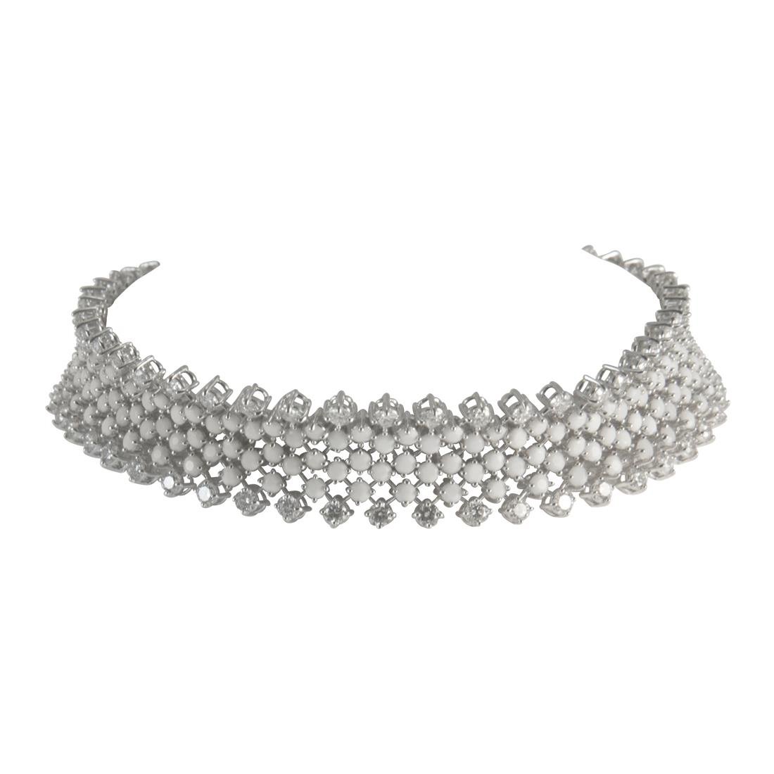 Bracciale  in oro bianco con diamanti ct 3.20 e agata bianca ct 5.08 - ALFIERI ST JOHN