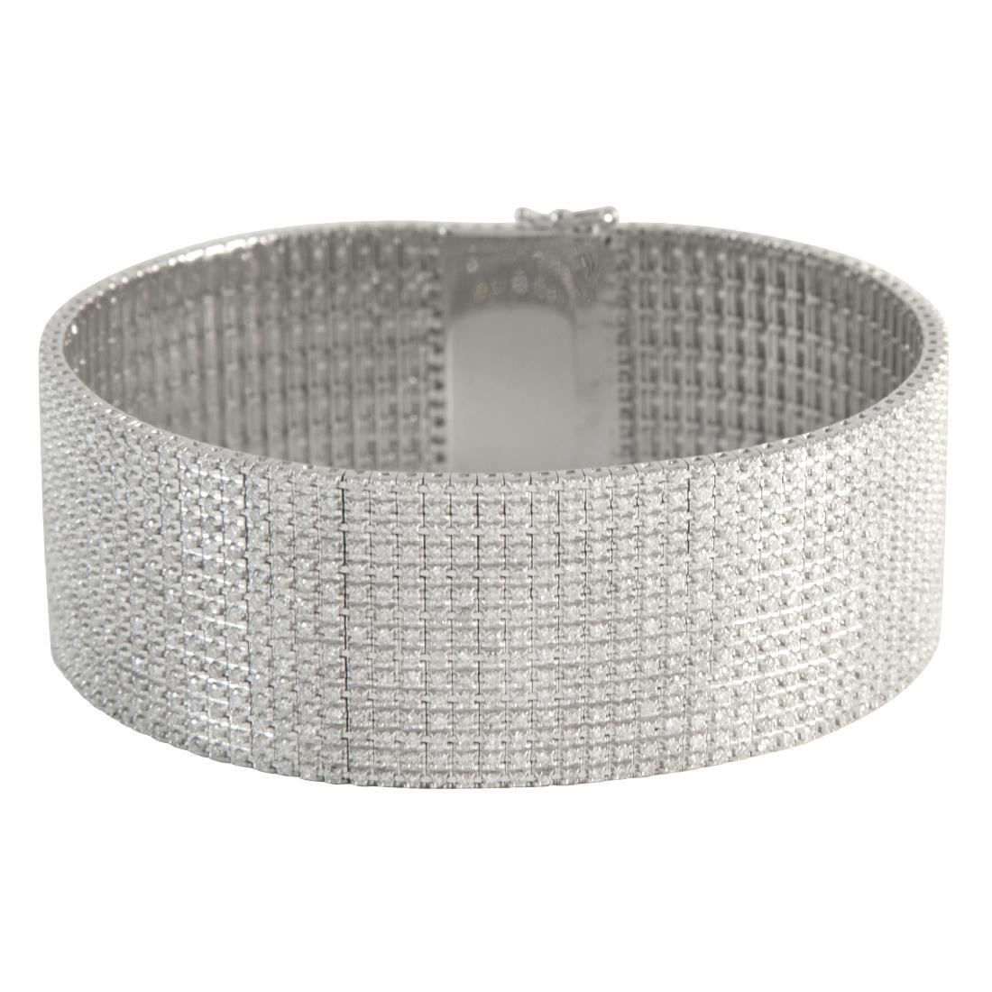 Bracciale unito 15 file in oro bianco con diamanti ct 9.35 - ALFIERI ST JOHN