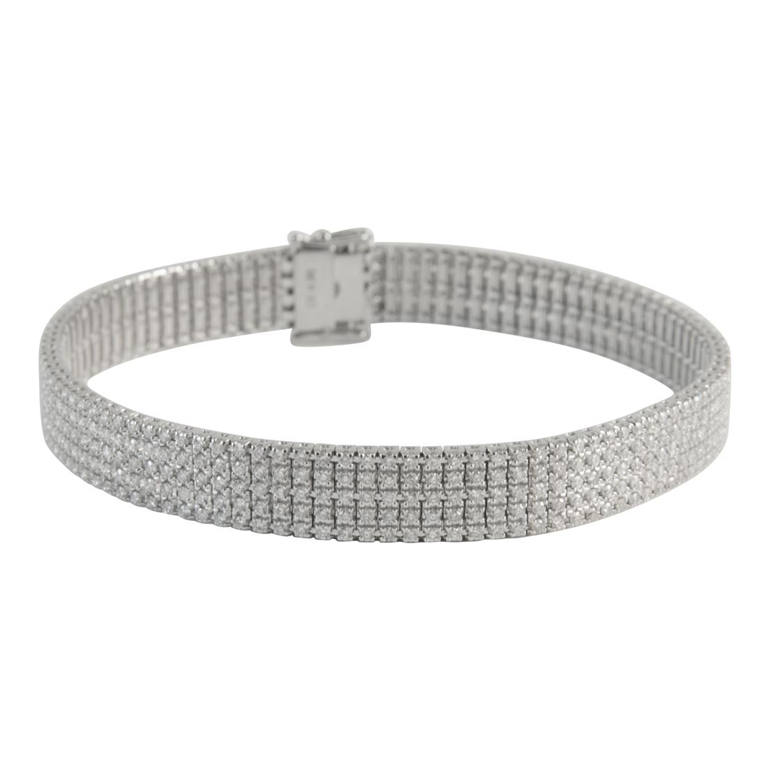 Bracciale unito 5 file in oro bianco con diamanti ct 4.30 - ALFIERI ST JOHN