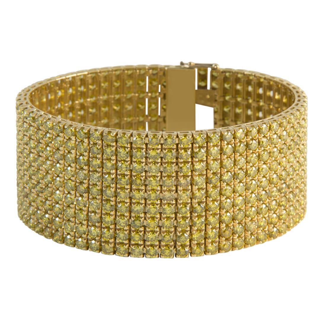 Bracciale tennis unito 9 file in oro giallo 18kt con diamanti ct 37.00 - ALFIERI ST JOHN