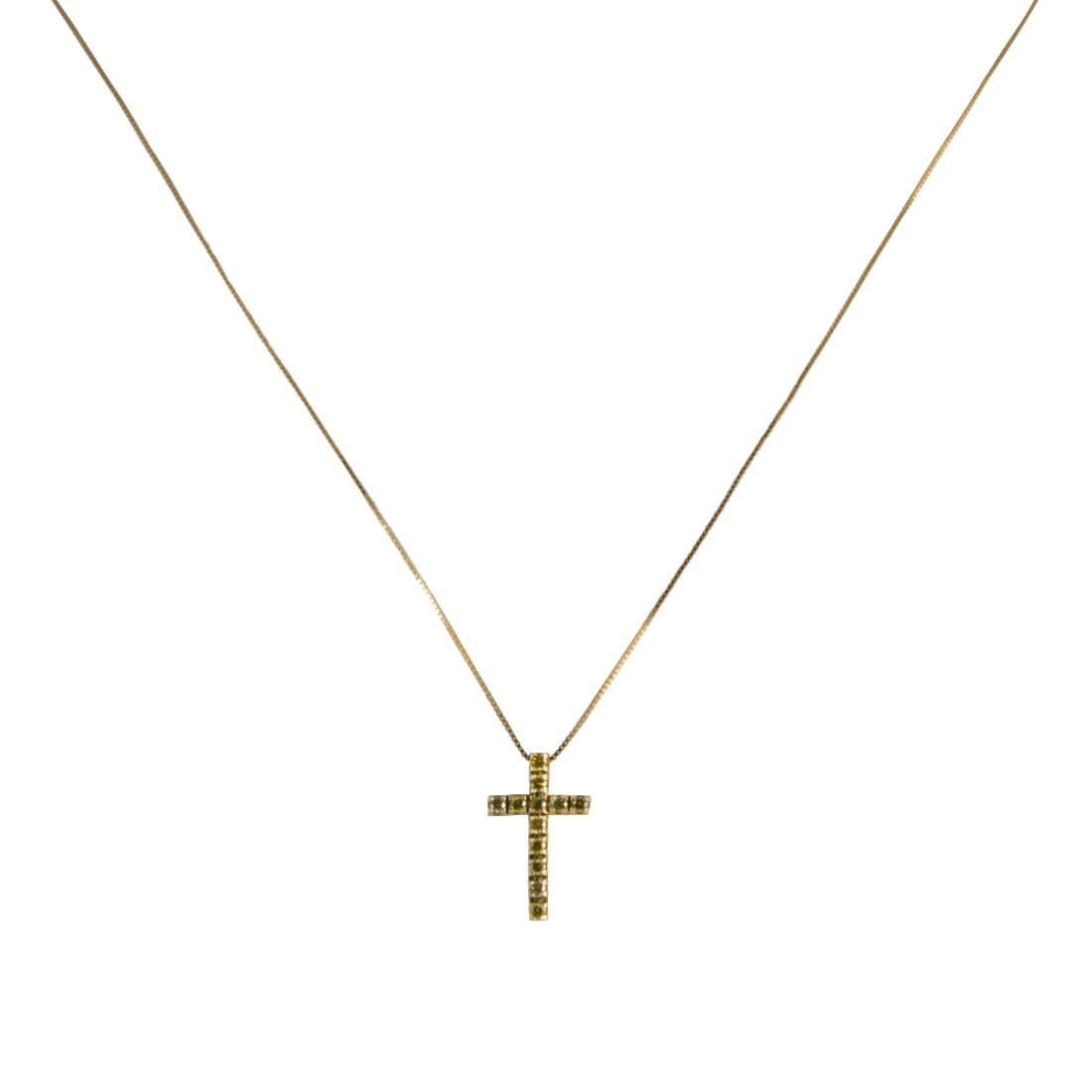 Ciondolo in oro giallo con diamanti gialli ct 0.20 misura 2.40cm - ALFIERI ST JOHN
