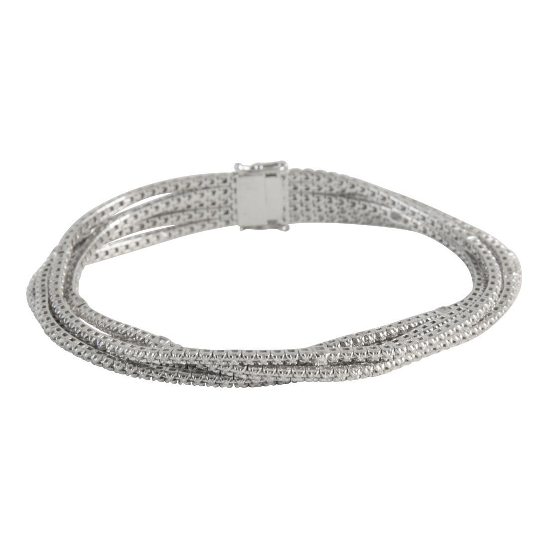 Bracciale tennis multifile in oro bianco con diamanti ct 1.80 - ALFIERI ST JOHN