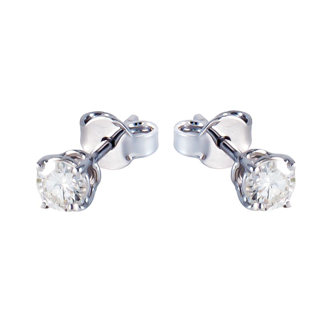 Orecchini  in oro bianco con diamanti ct 0.41 - ORO&CO