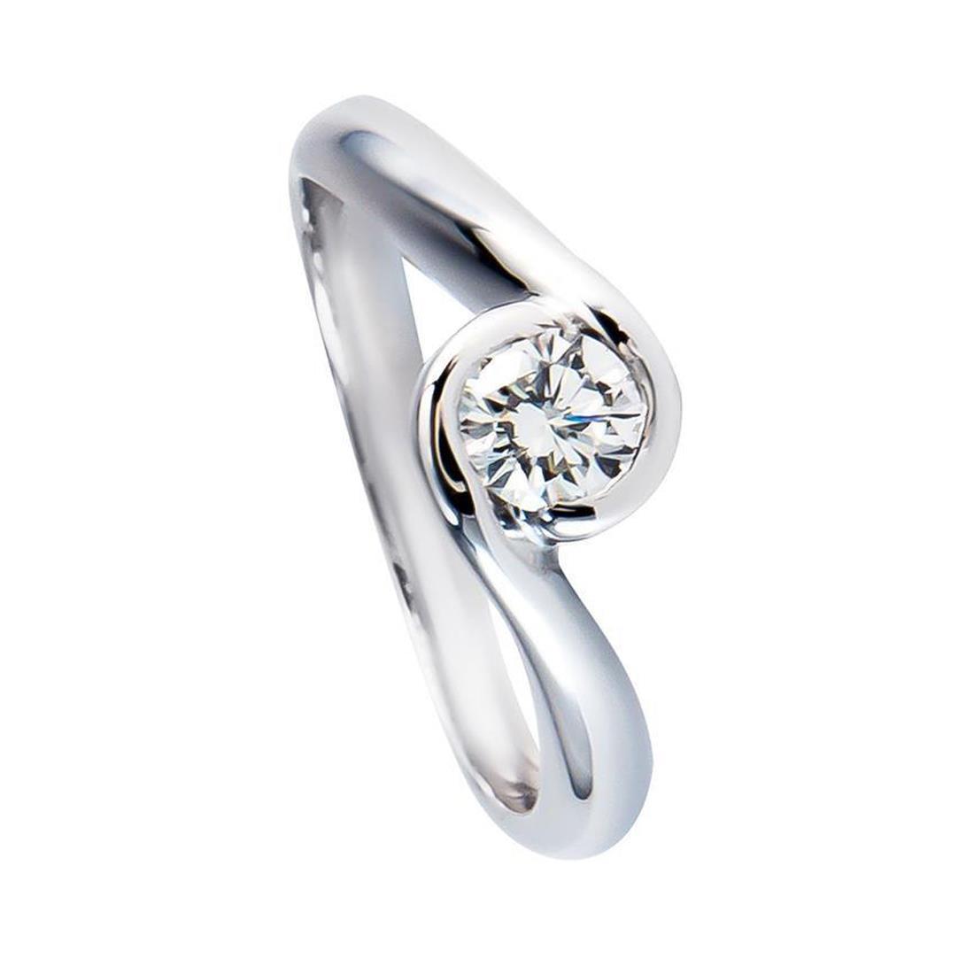 Anello solitario in oro bianco con diamante ct 0.37 misura 13 - ORO&CO
