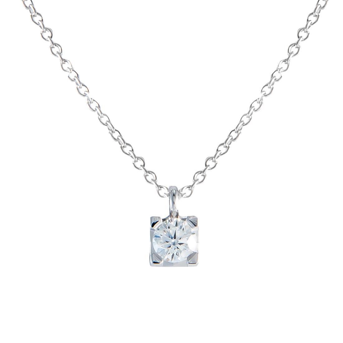 Collana  punto luce in oro bianco e diamante ct 0.23, lunghezza 42cm - ALFIERI ST JOHN