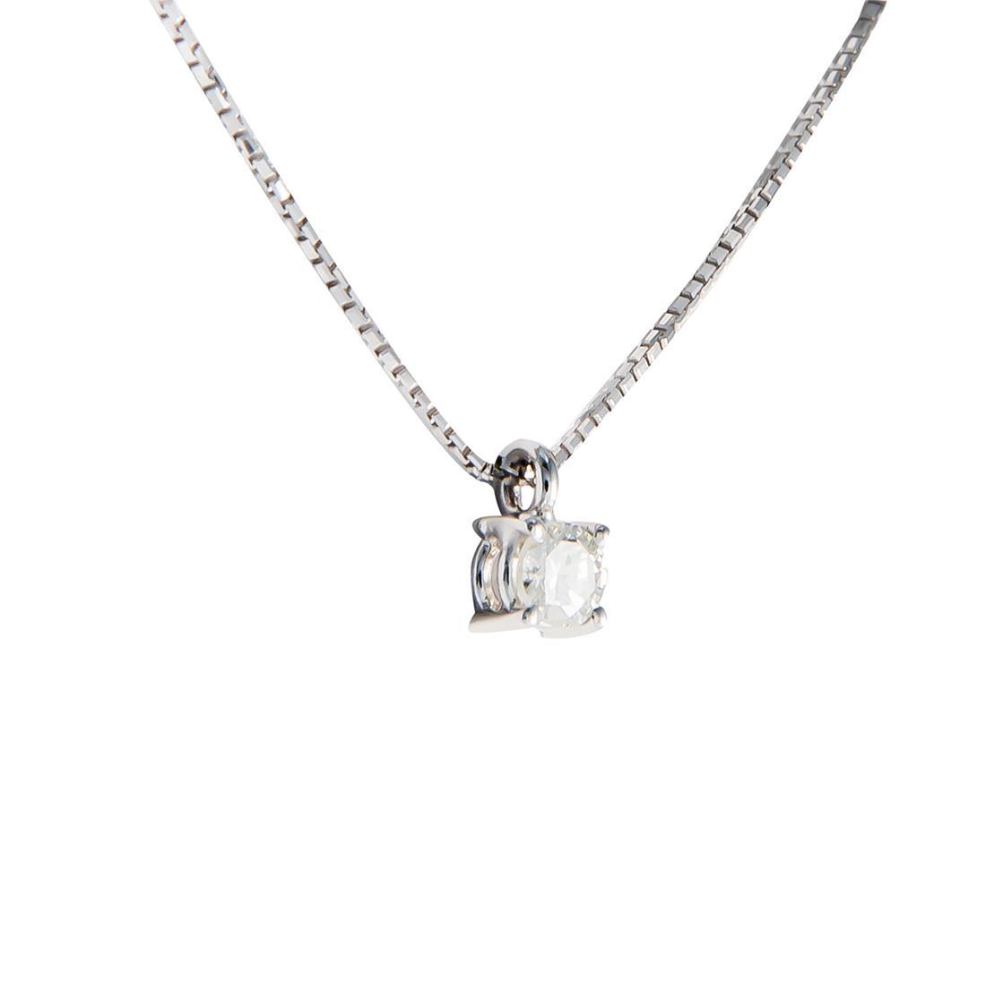 Collier punto luce in oro bianco con diamante ct 0.19, lunghezza 42cm - ORO&CO