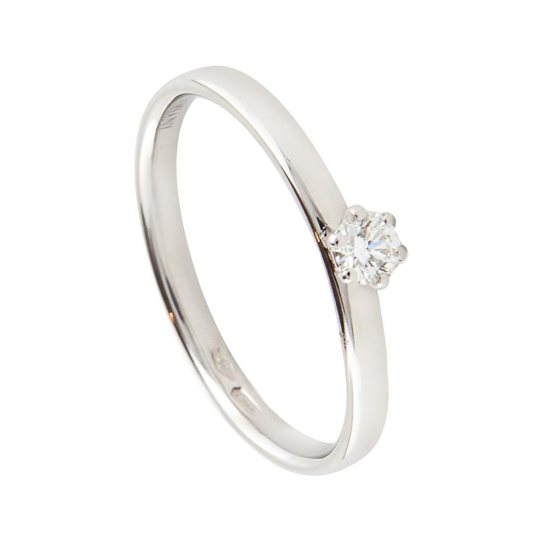 Anello in oro bianco con diamante ct 0.168, misura 15 - DAMIANI