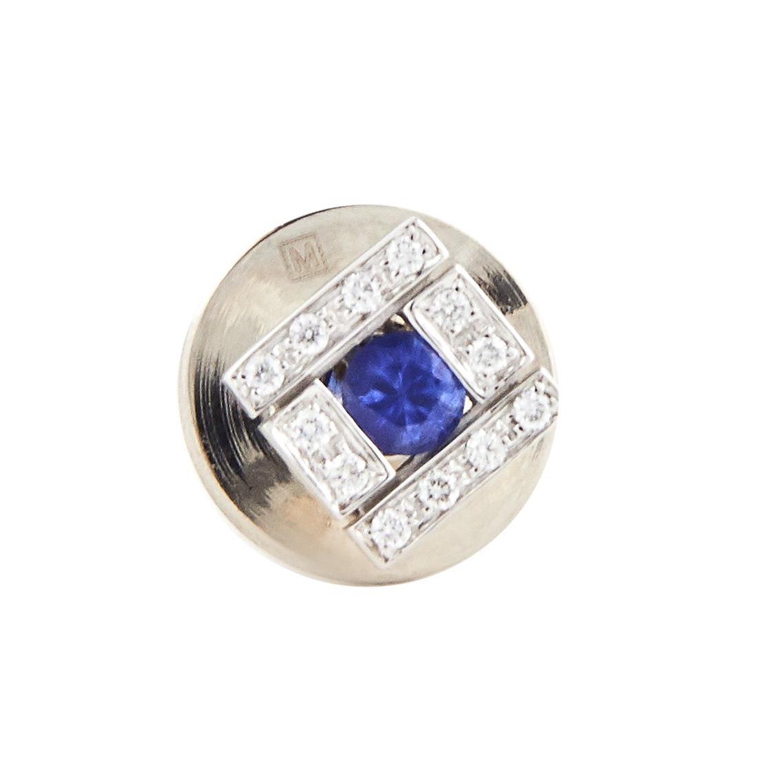 Spilla in oro bianco con diamanti ct 0.06 e zaffiri ct 0.18 - DAMIANI