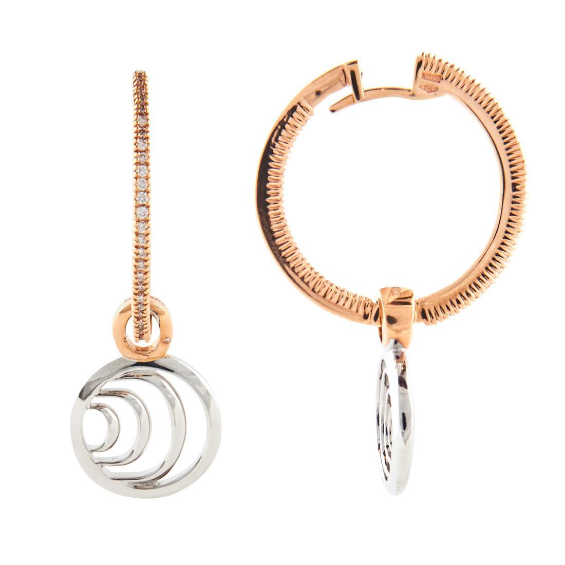 Orecchini a cerchio piccolo in oro bianco e rosa con diamanti ct 0.47 - DAMIANI