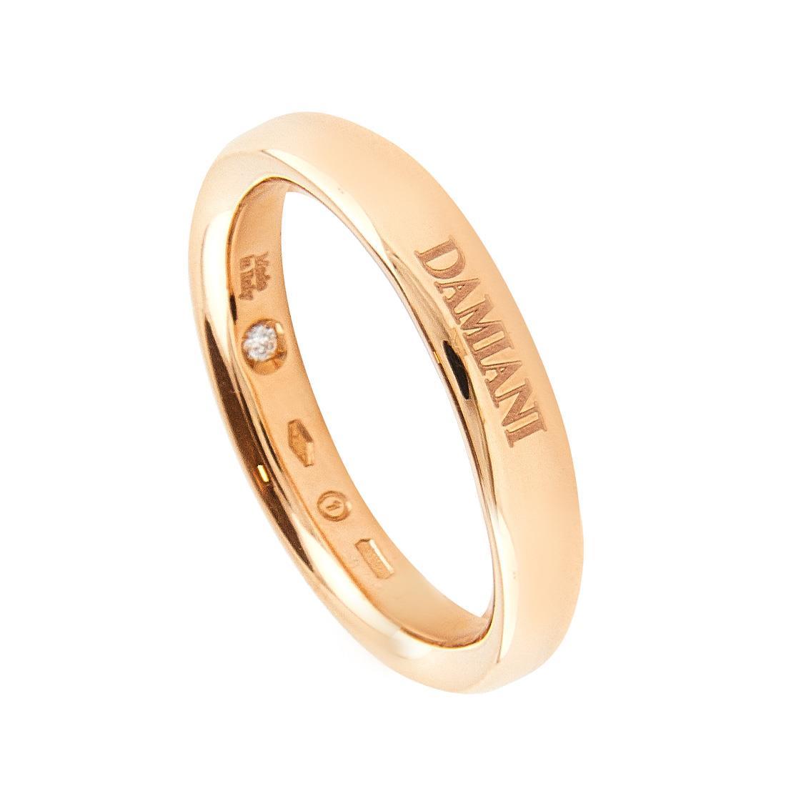 Anello in oro rosa con diamante ct 0.01, misura 13 - DAMIANI
