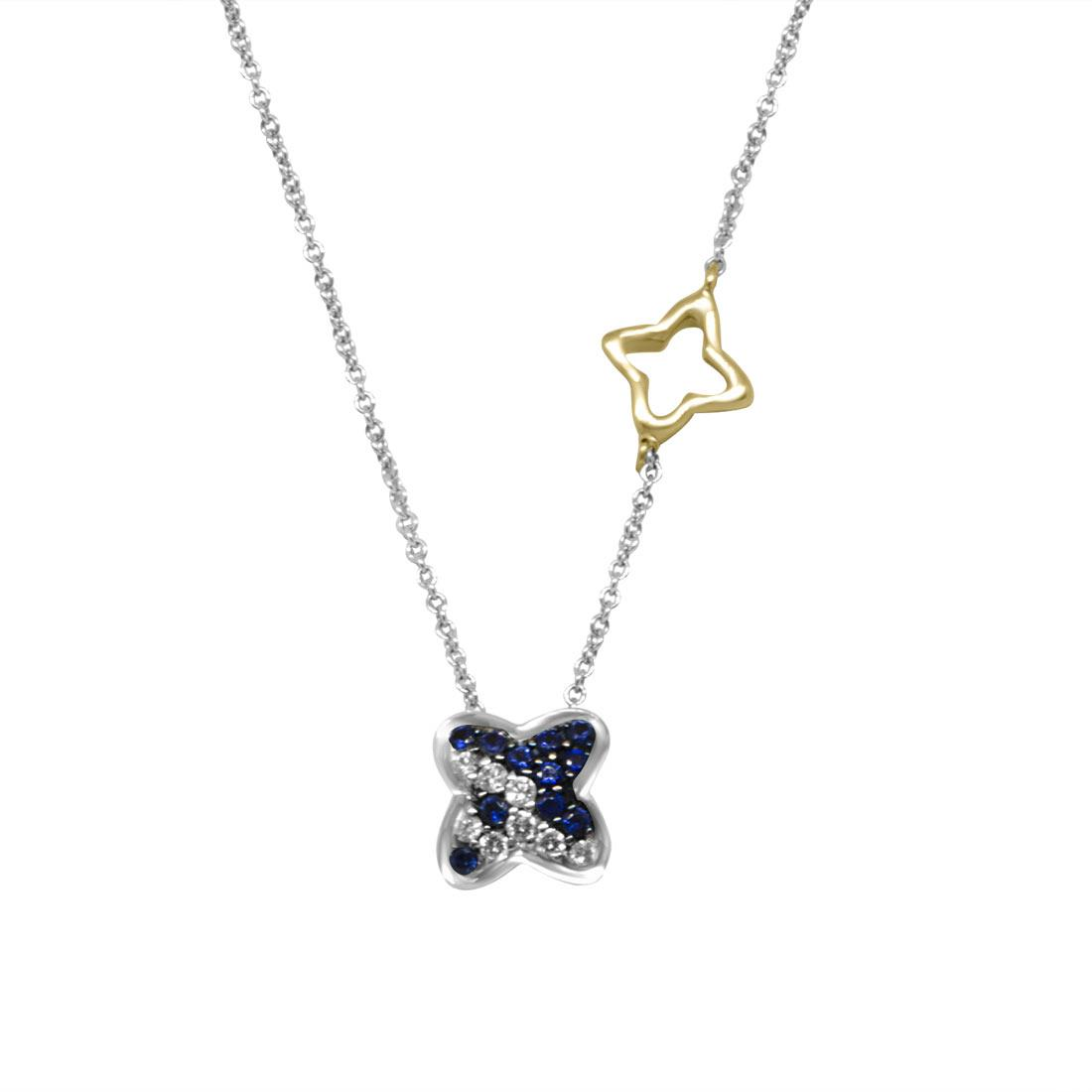 Collana  girogola in oro bianco con diamanti ct 0.09 e zaffiri ct 0.15 - RECARLO
