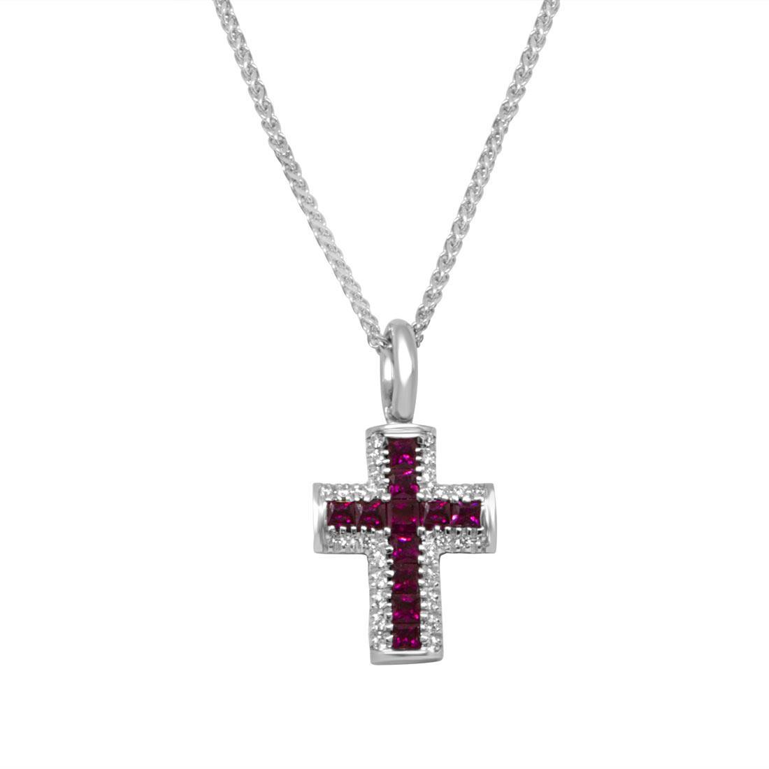 Collana  in oro bianco pendente croce con diamanti ct 0.12 e rubini ct 0.73 - RECARLO