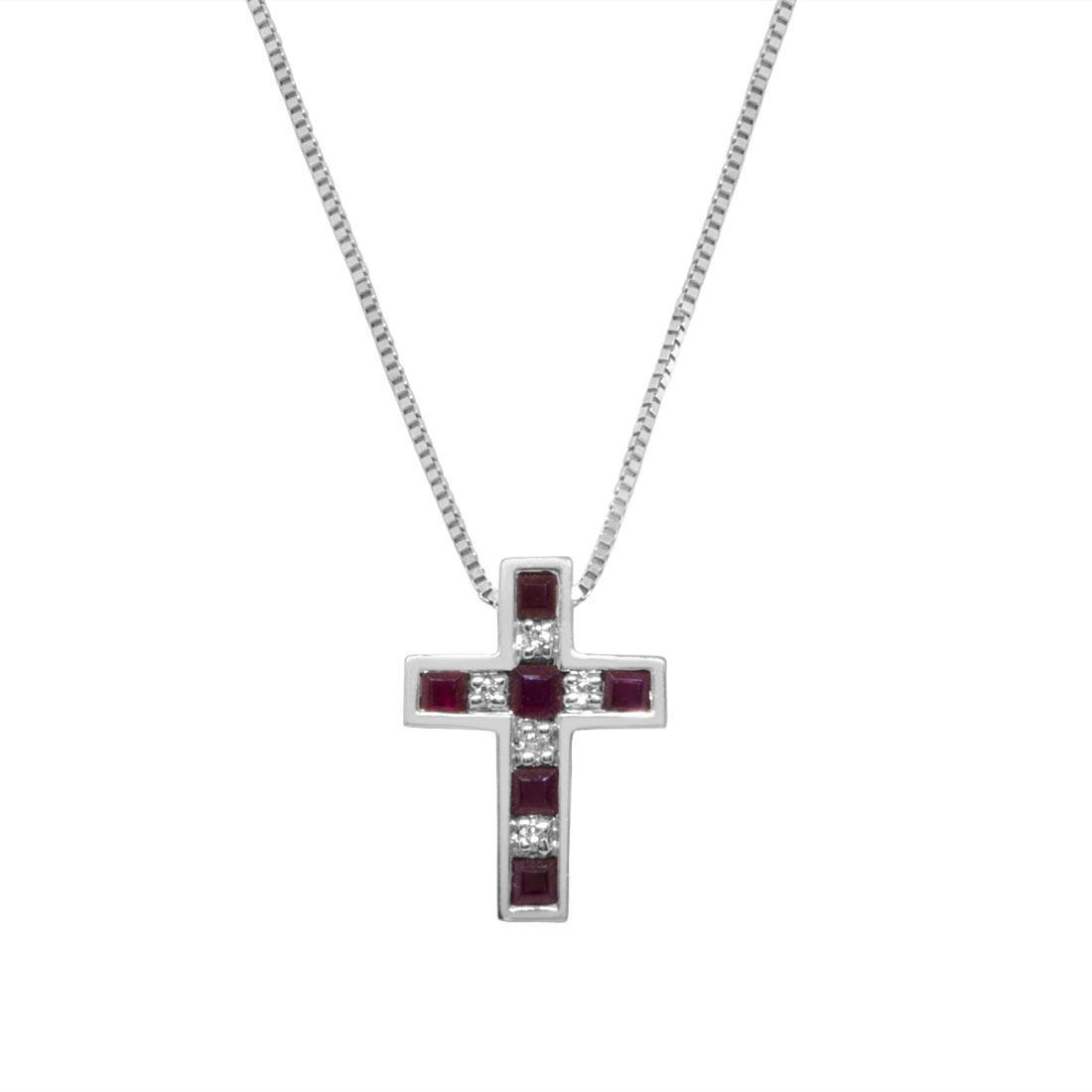 Collana  in oro bianco pendente croce con diamanti ct 0.07  e rubini ct 0.49 - BLISS