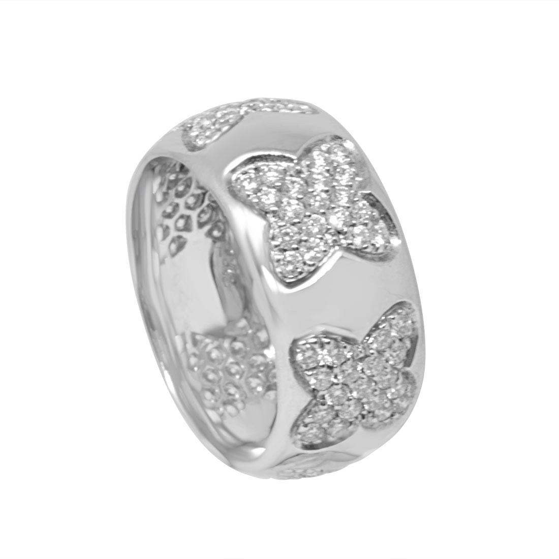 Anello in oro bianco e diamanti ct 1.15, misura 14 - RECARLO