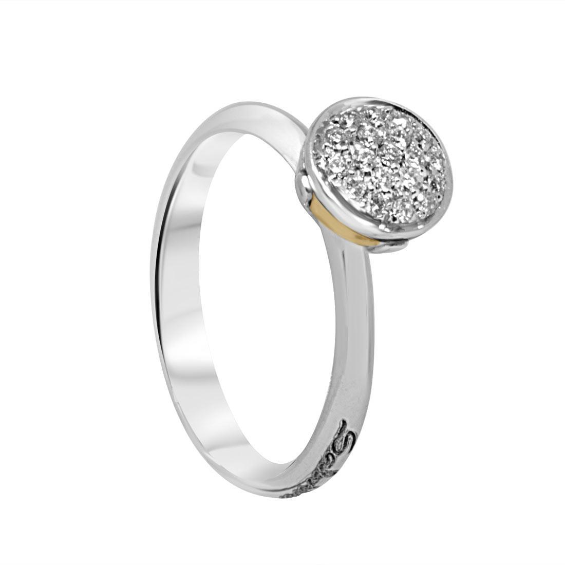 Anello in oro bianco con diamanti ct 0.15, misura 14 - SALVINI