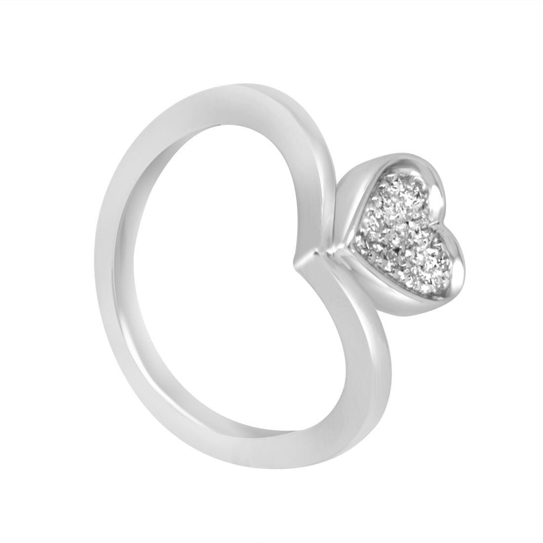 Anello in oro bianco a forma di cuore con diamante ct 0.13  misura 14 - SALVINI