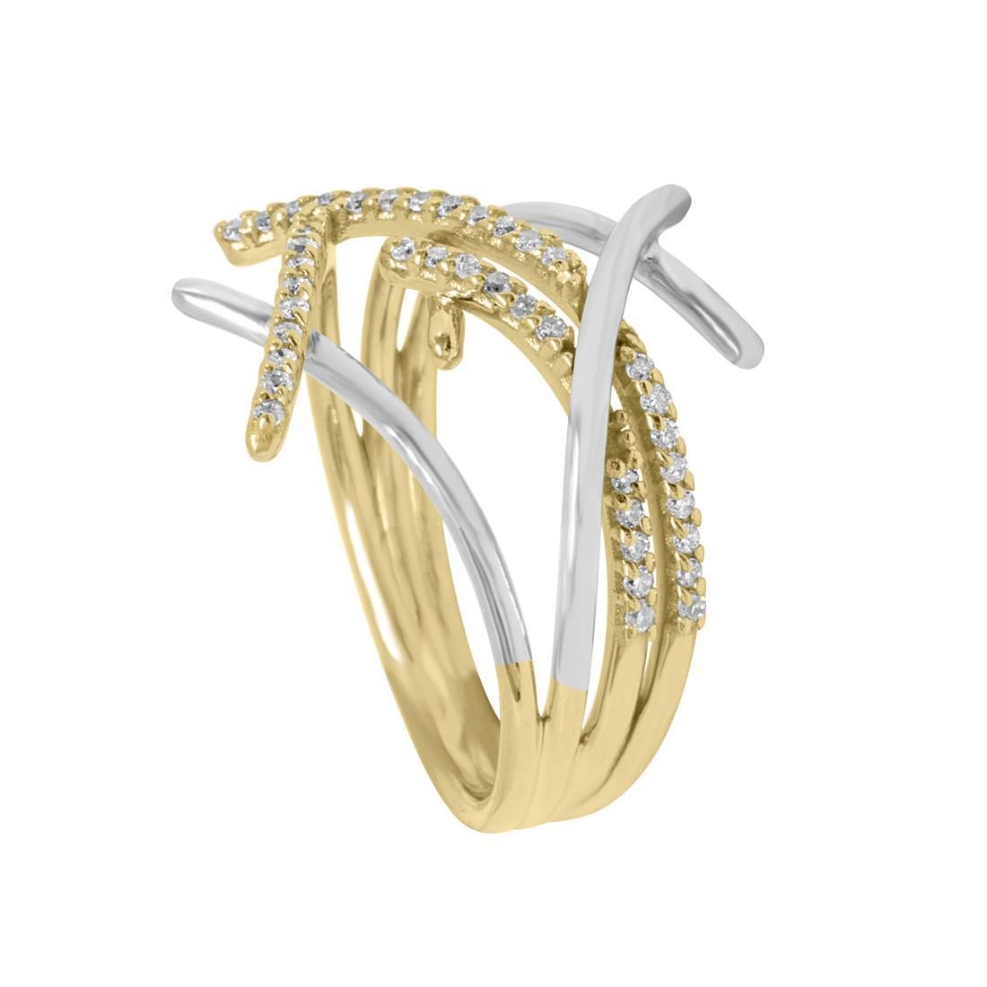 Anello Alfieri & St John in oro bianco e giallo con diamanti bianchi ct 0,24  - ALFIERI ST JOHN
