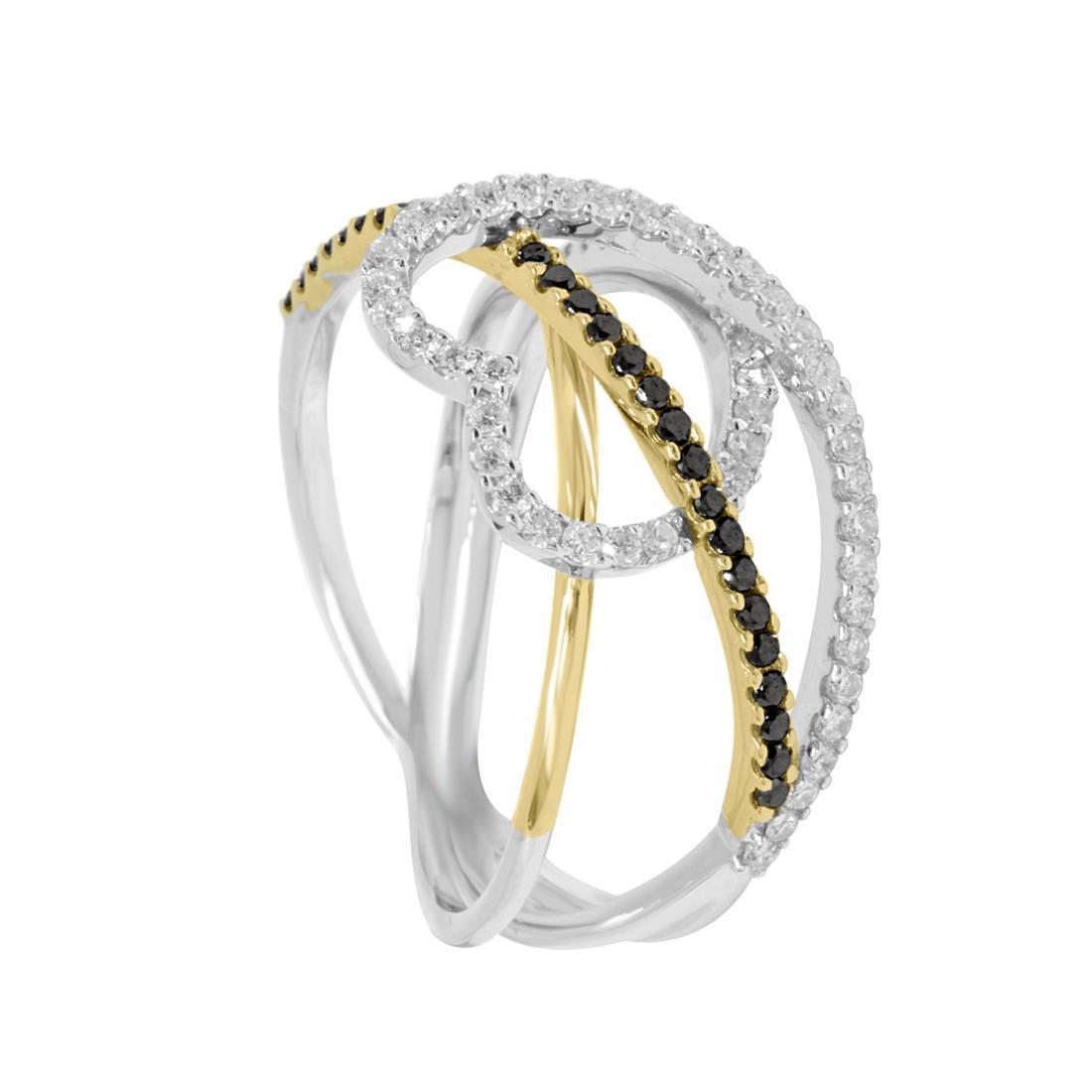 Anello Alfieri & St John in oro bianco e giallo con diamanti bianchi ct 0,30 - ALFIERI ST JOHN