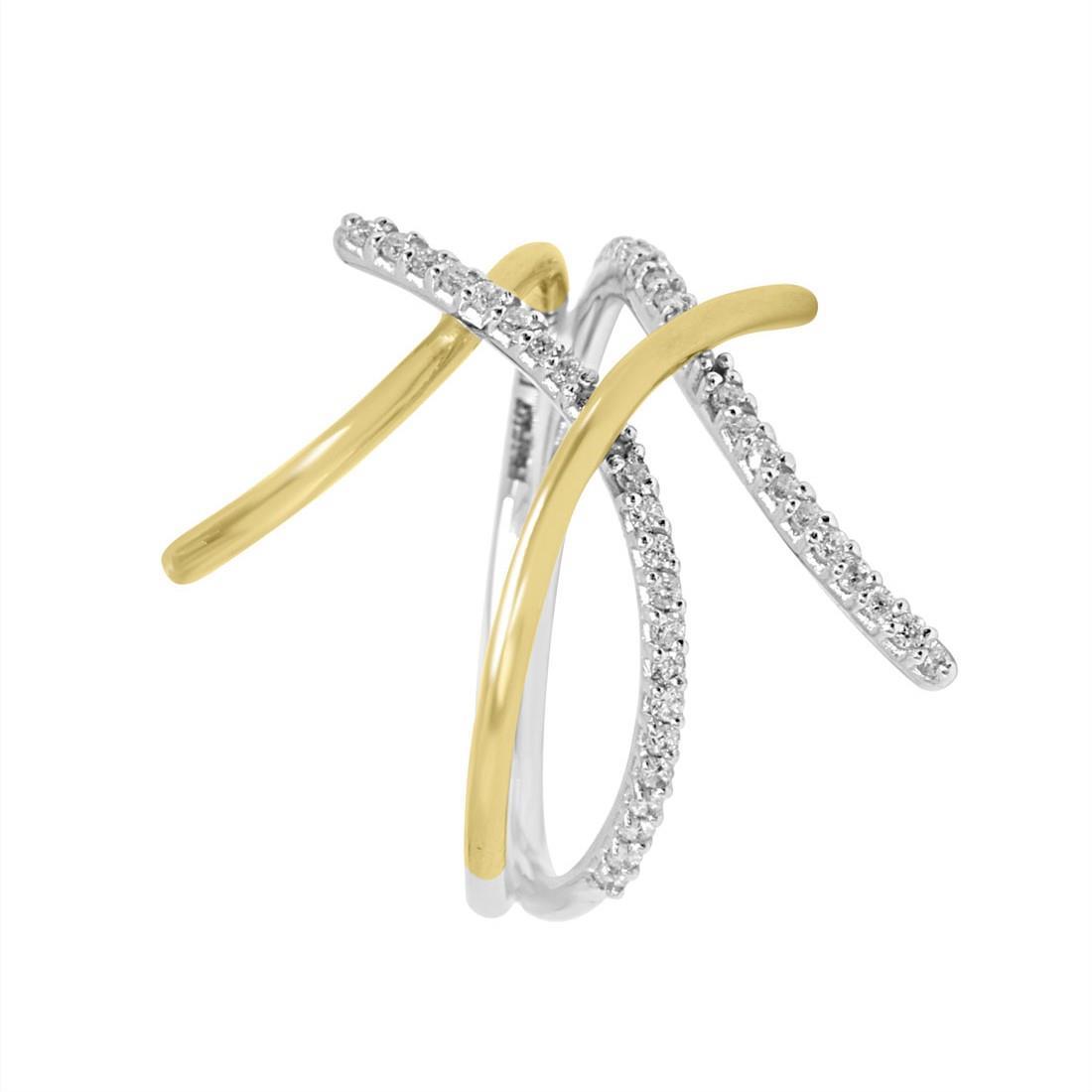 Anello Alfieri & St John in oro bianco e giallo con diamanti ct 0,21 - ALFIERI ST JOHN