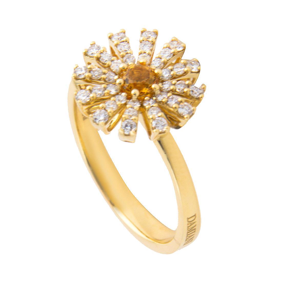 Anello Damiani Collezione Margherita in oro giallo con diamanti ct 0,30 con quarzo citrino misura 13 - DAMIANI