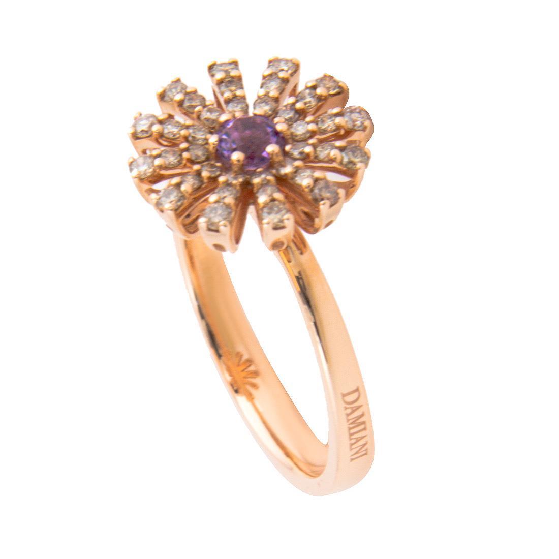 Anello Damiani Collezione Margherita in oro rosa con diamanti ct 0,35 con ametista misura 13 - DAMIANI