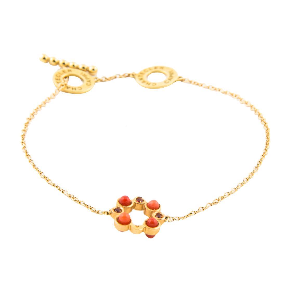 Bracciale in oro rosa con un elemento in corallo e zaffiri arancio, lunghezza 18,5cm - CHANTECLER