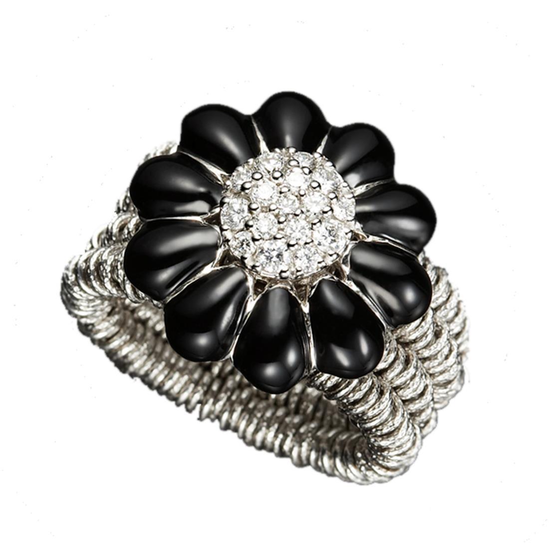 Anello in argento con margherita nera e diamanti - ROBERTO DEMEGLIO