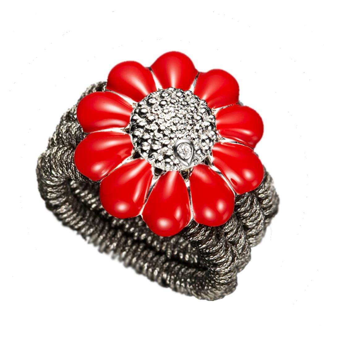 Anello design in argento brunito con margherita rossa - ROBERTO DEMEGLIO