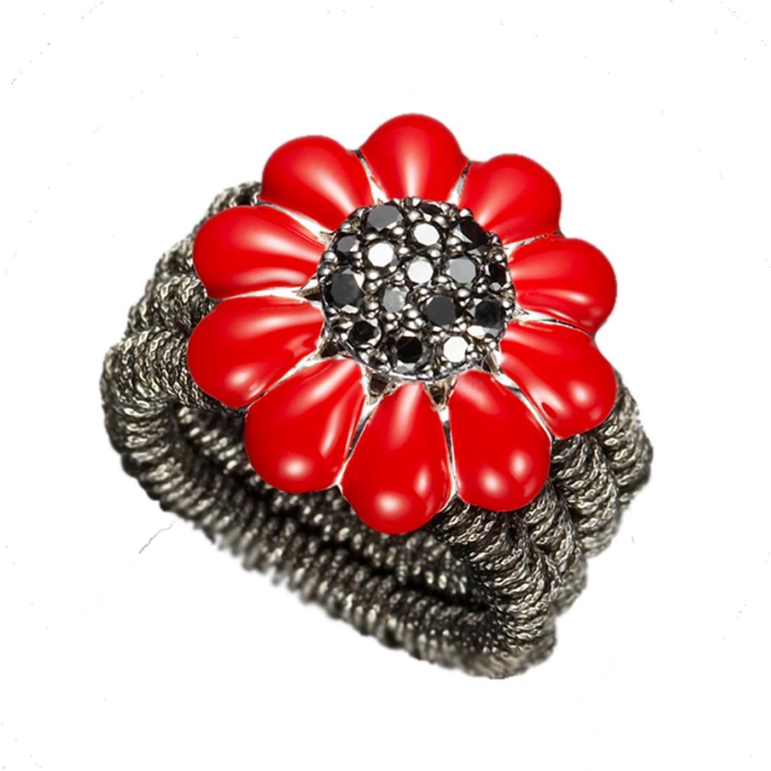 Anello design in argento brunito con margherita rossa e diamanti - ROBERTO DEMEGLIO