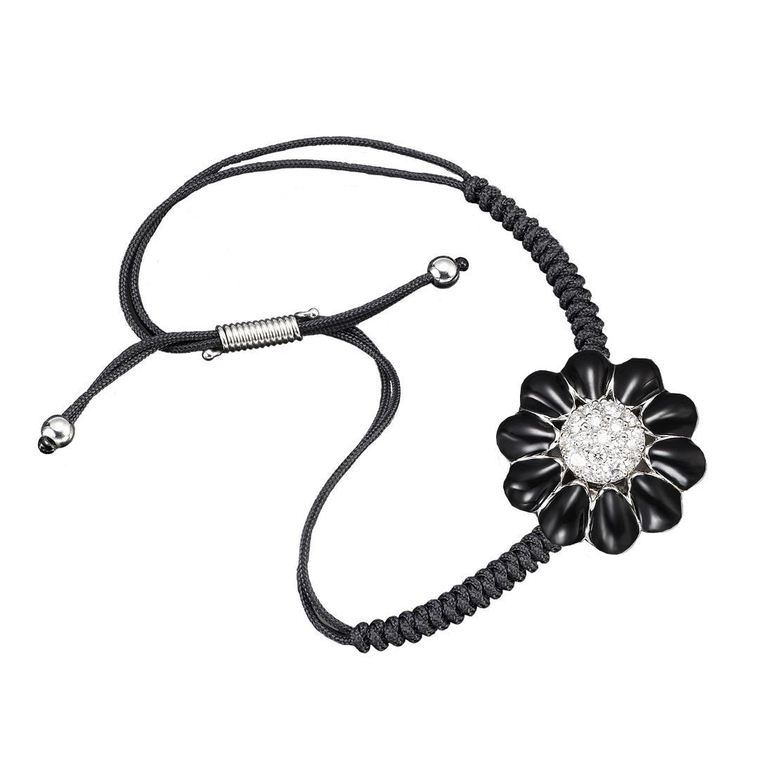 Bracciale design con margherita nera e diamanti - ROBERTO DEMEGLIO