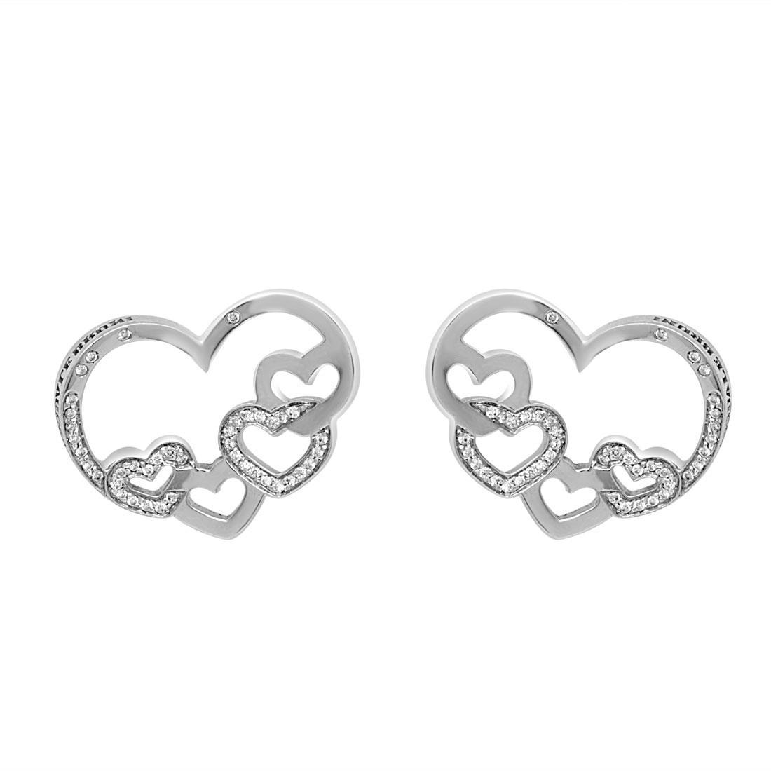 Orecchini in oro bianco cuore con diamanti 0.30 ct - PASQUALE BRUNI