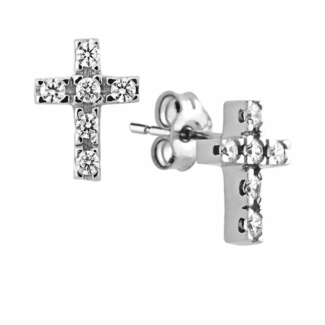 Orecchini a croce in oro bianco con zirconi - ORO&CO