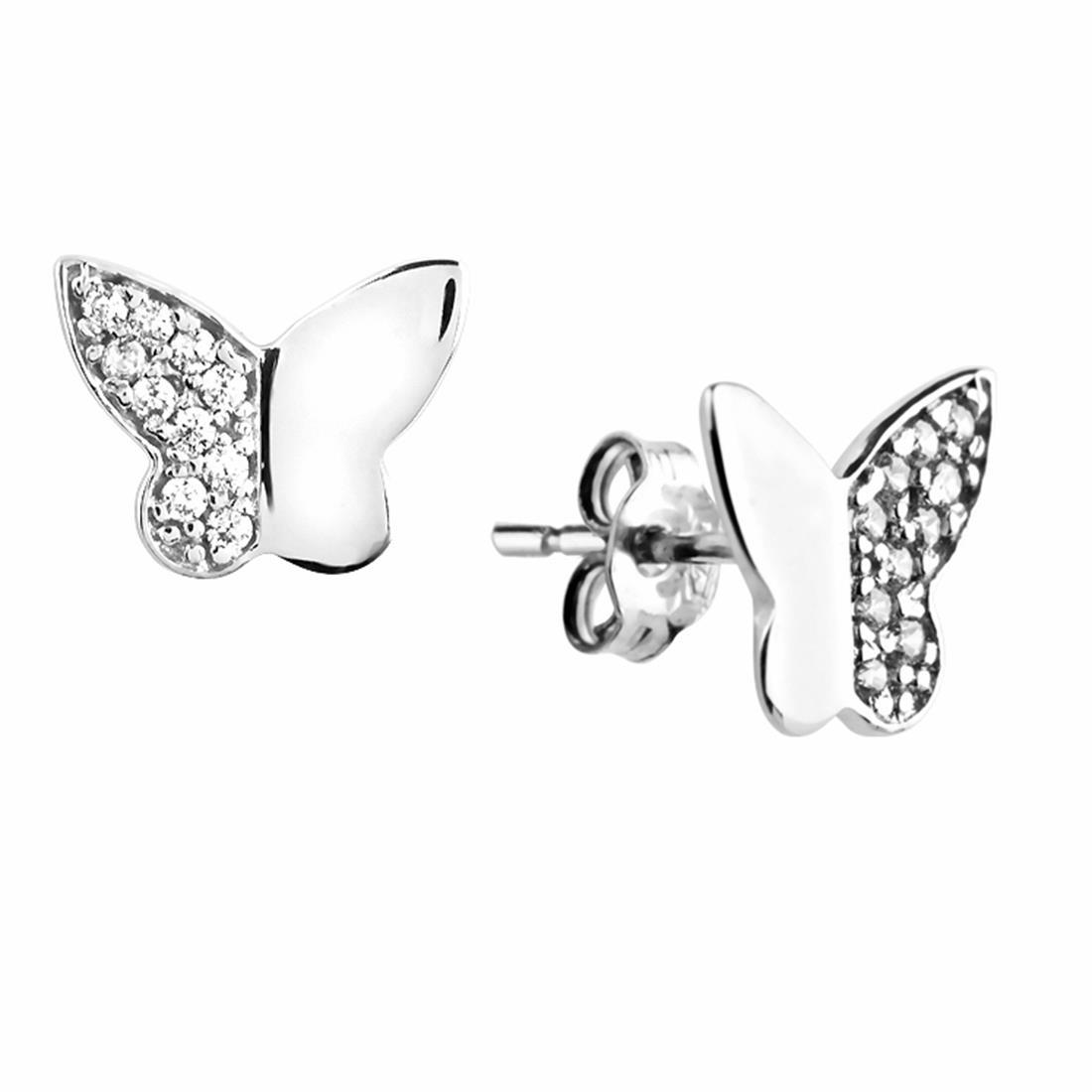 Orecchini in oro bianco con zirconi, design farfalla - ORO&CO