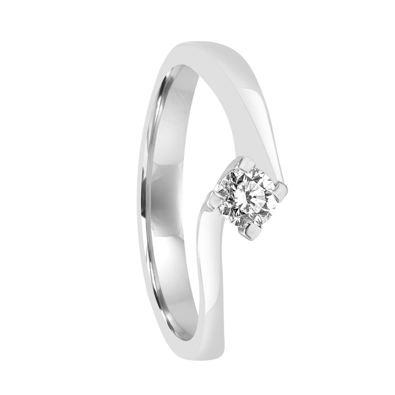 Anello solitario in oro bianco con diamante ct 0.25, misura 14 - ORO&CO