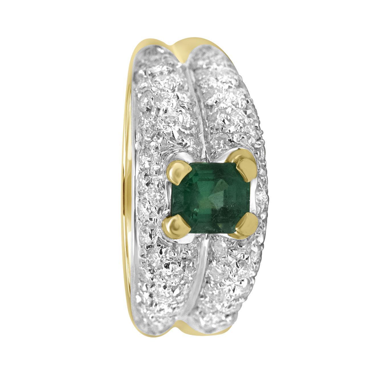 Anello in oro giallo con diamanti ct 1.76 e pietra verde, misura 14 - ALFIERI & ST. JOHN