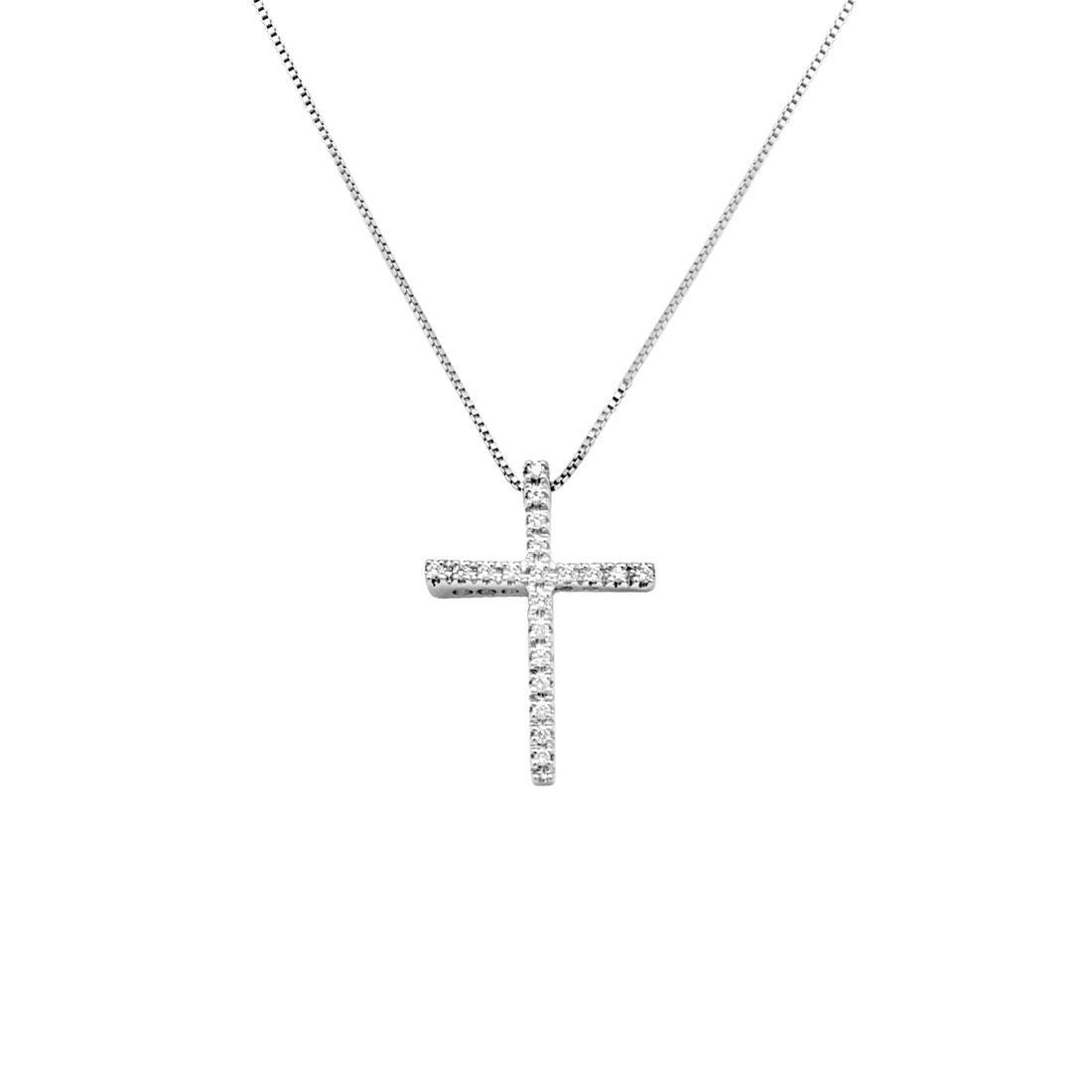 Collana croce in oro bianco con diamanti - ORO&CO
