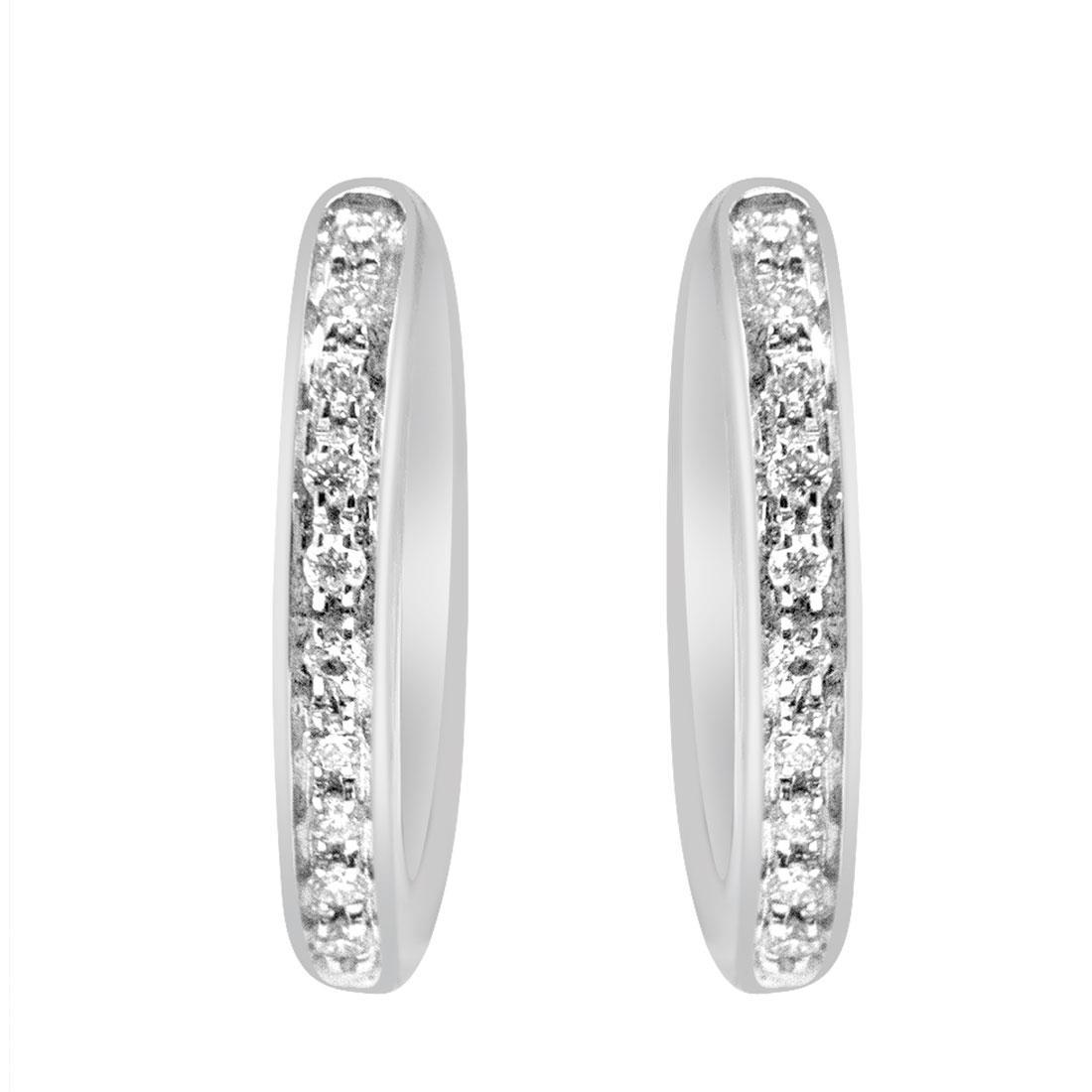 Orecchini a cerchio in oro bianco con diamanti - ORO&CO
