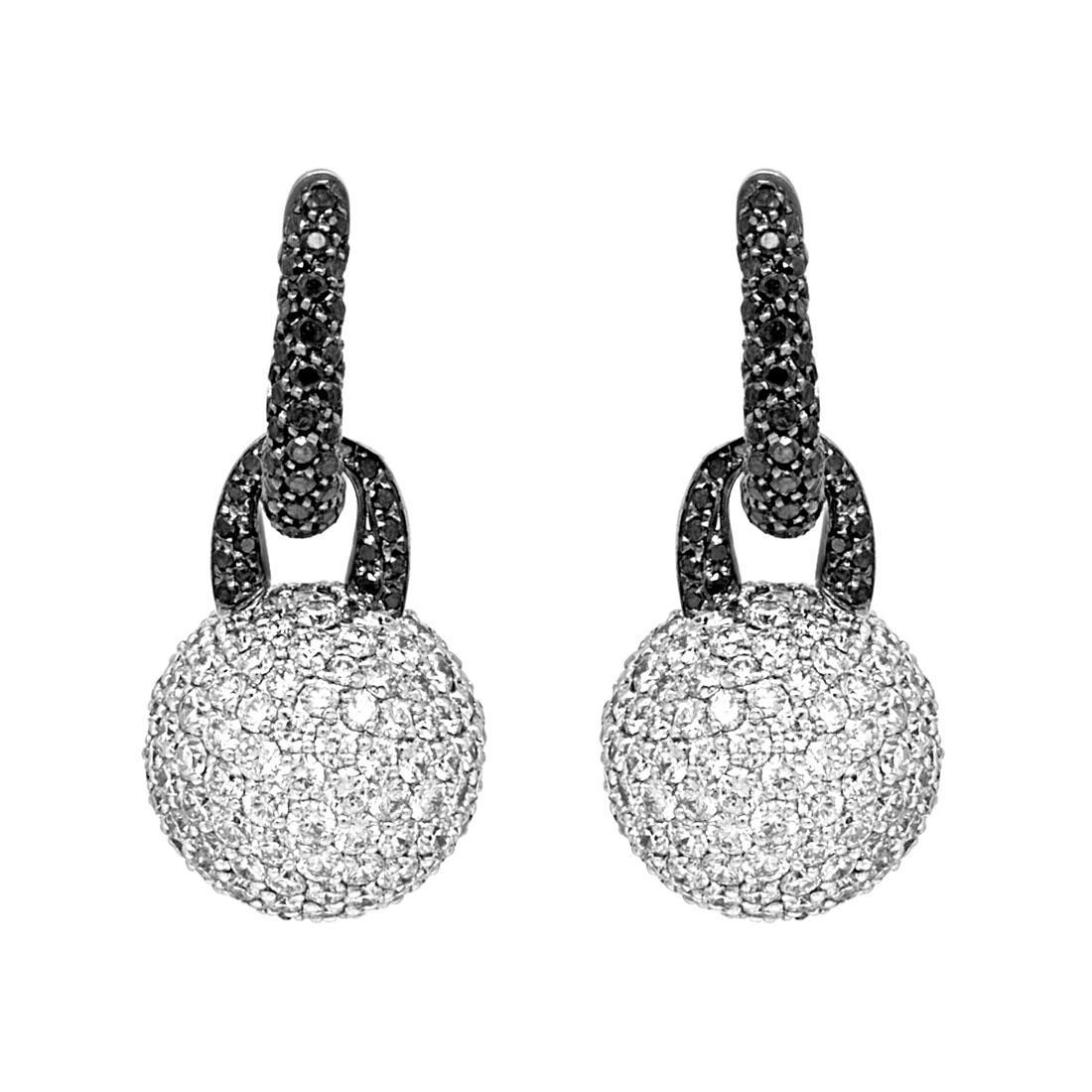 Orecchini in oro brunito con diamanti bianchi e neri - ORO&CO