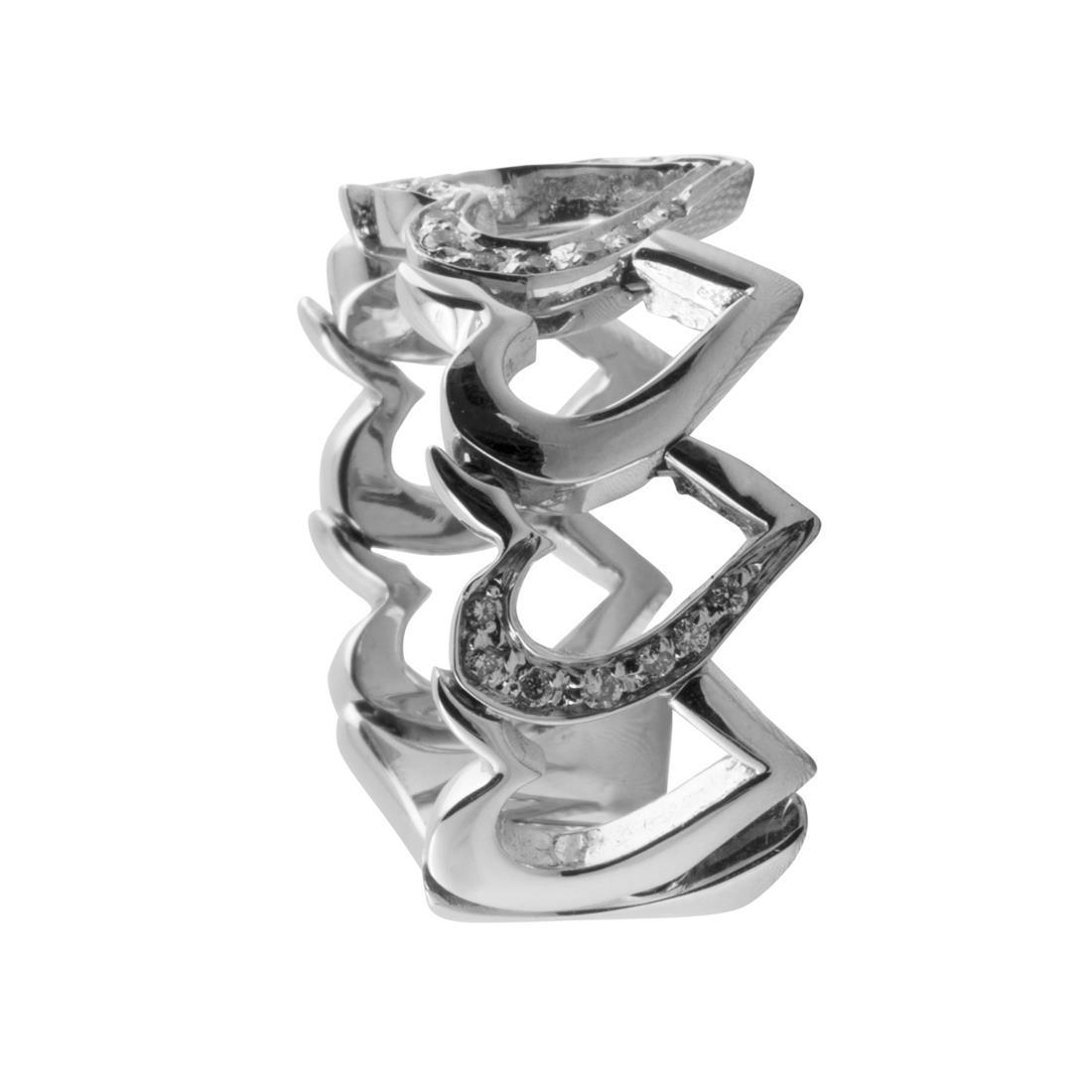 Anello in oro bianco con diamanti ct. 0,18 - ALFIERI & ST. JOHN
