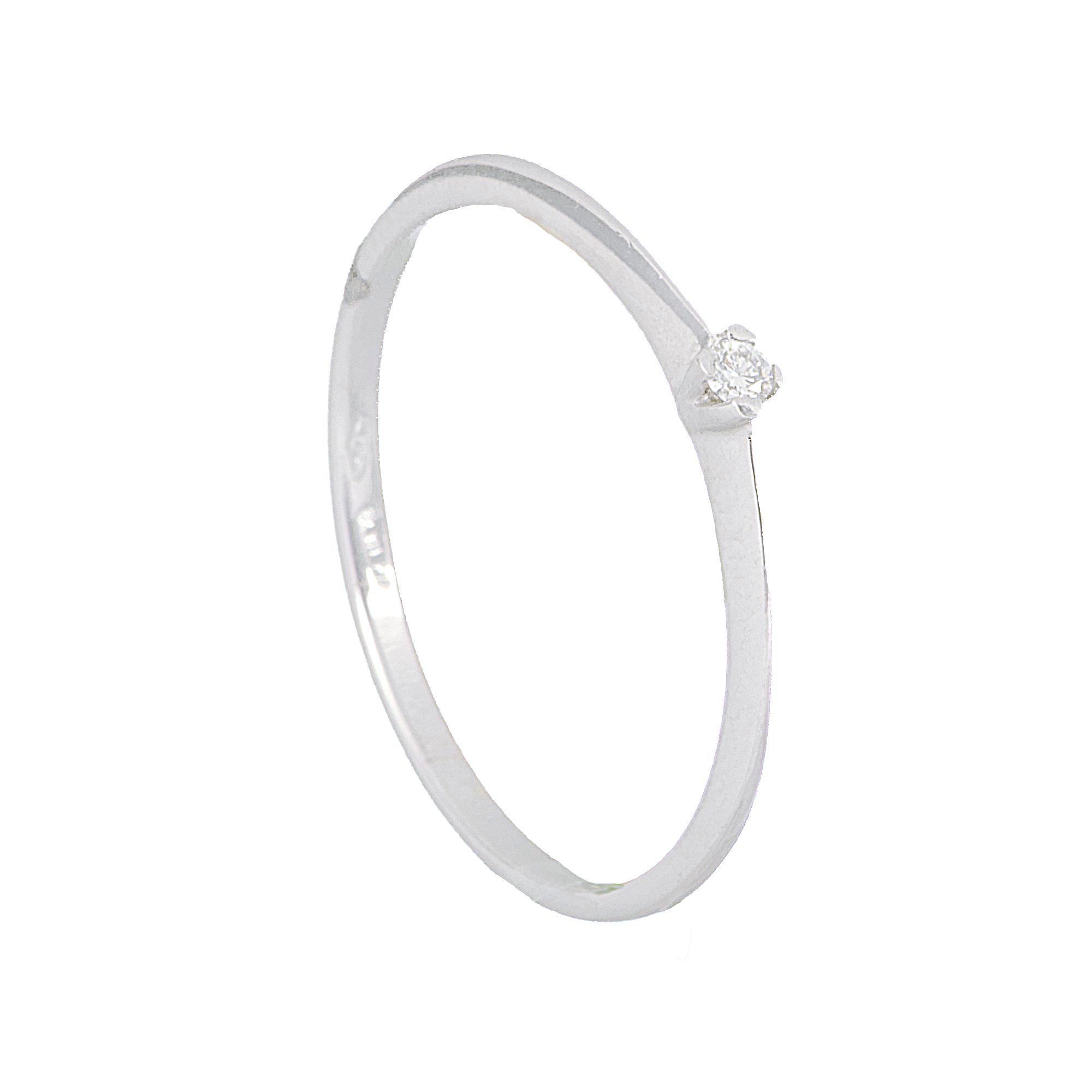 Anello in oro bianco con diamante ct. 0,02 - ALFIERI & ST. JOHN