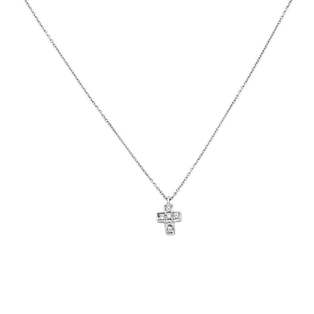 Collana in oro bianco con pendente croce e diamanti ct 0.03, lunghezza 21,5cm - ORO&CO