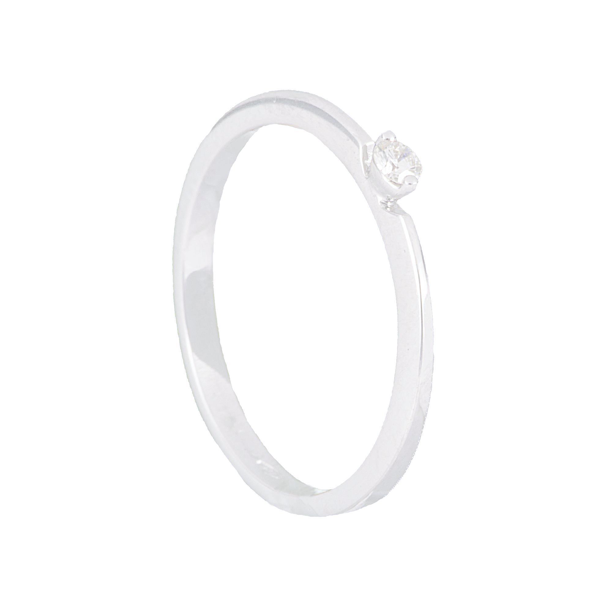 Anello in oro bianco con diamante ct.0,05 - ALFIERI & ST. JOHN