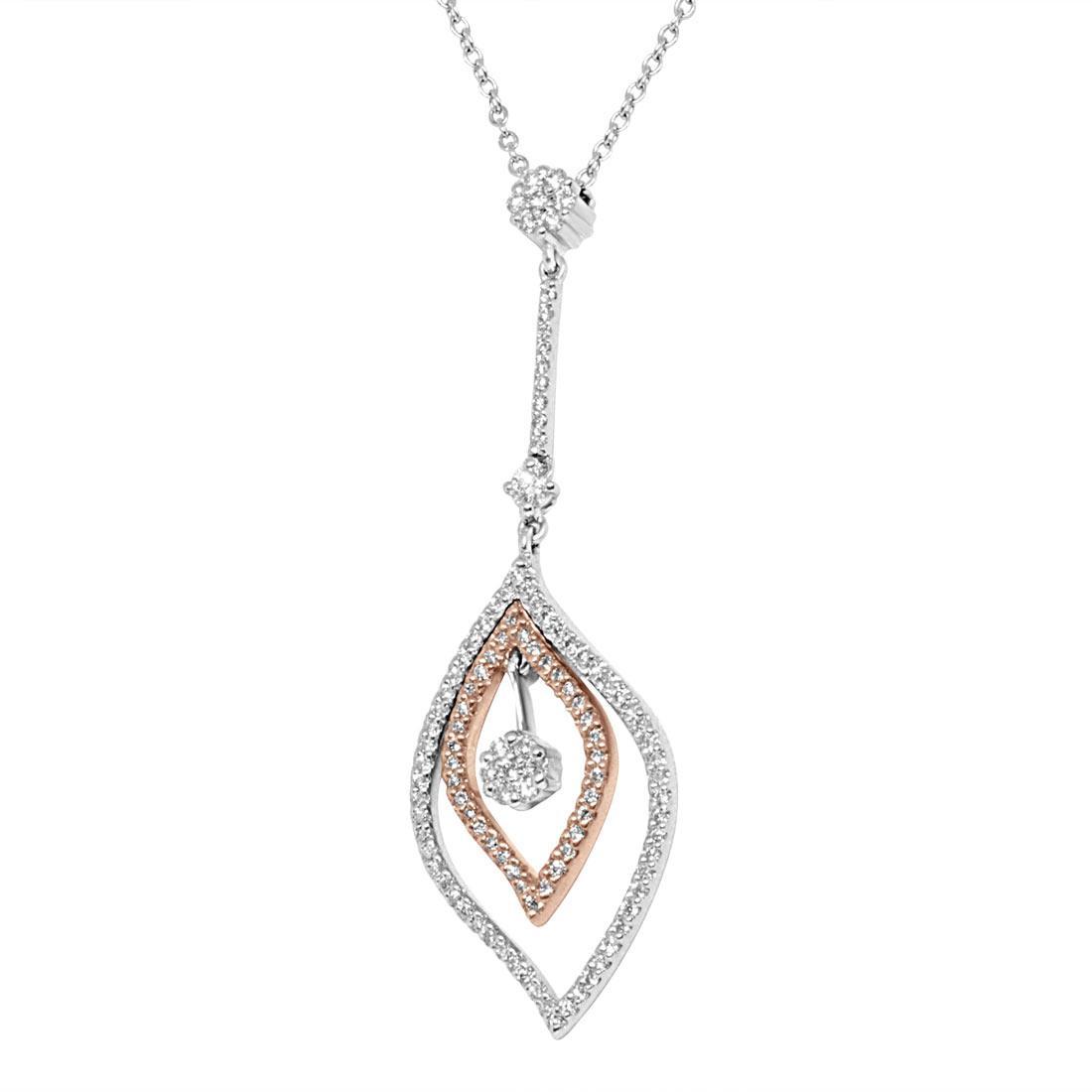 Collana in oro bianco e rosa, pendente design foglie con diamanti - ALFIERI ST JOHN
