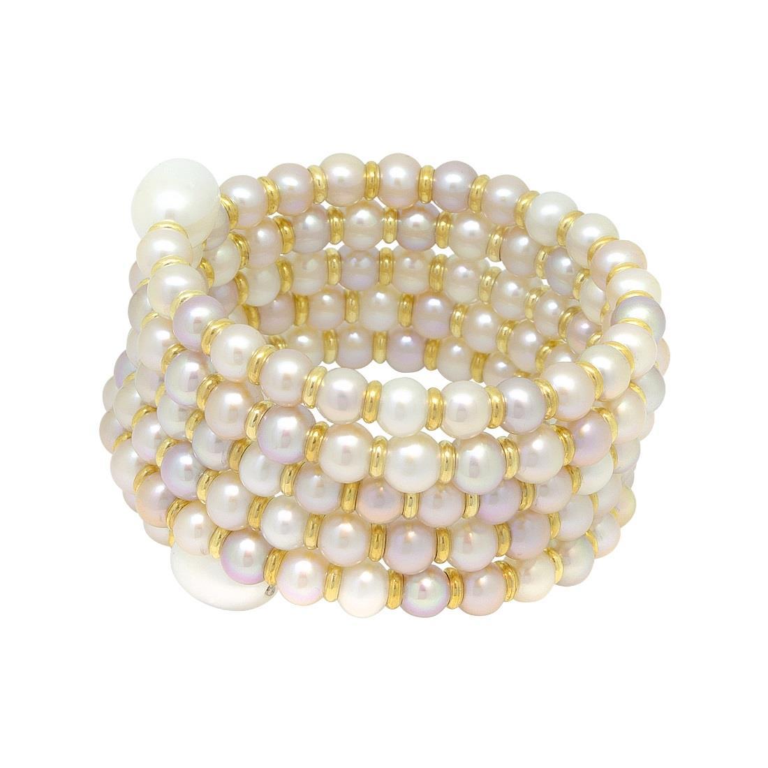Bracciale semirigido a spirale di perle - ROBERTO DEMEGLIO