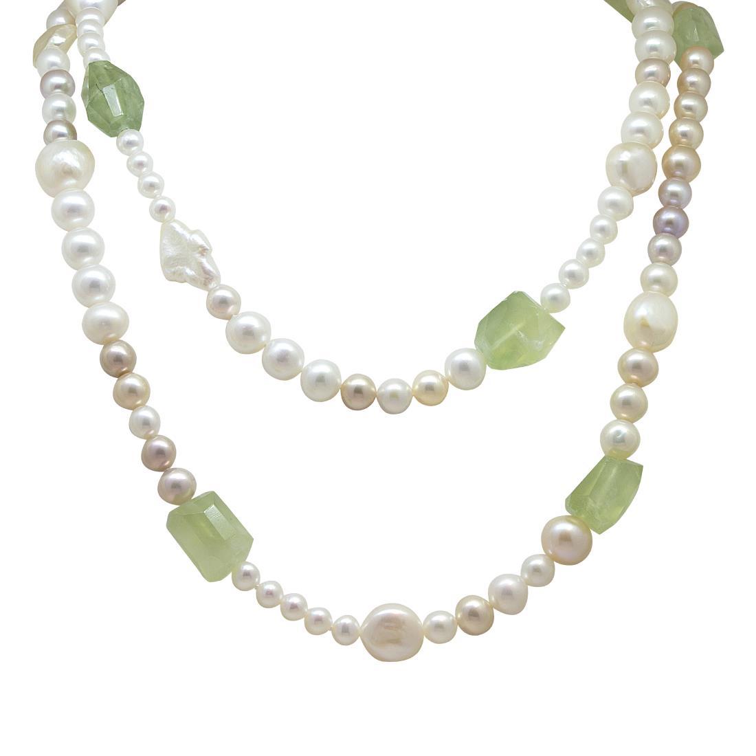 Collana lunga di perle e prenite - ROBERTO DEMEGLIO