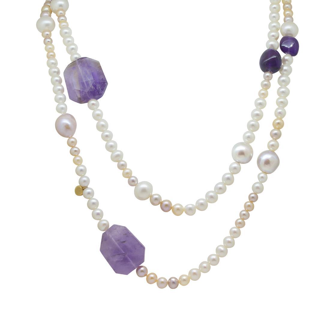 Collana lunga di perle e ametiste - ROBERTO DEMEGLIO