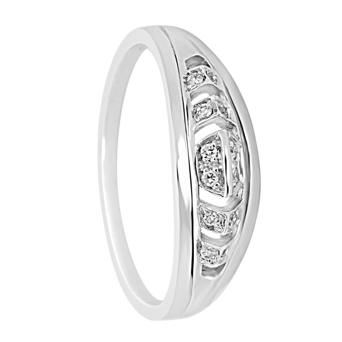 Anello in oro bianco e diamanti 0.07 ct mis 15 - ORO&CO