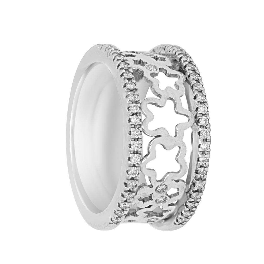 Anello in oro bianco a fascia con diamanti  0.27 ct,  misura 14 - ORO&CO