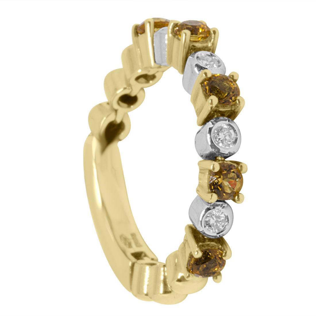 Anello in oro bianco e giallo con diamanti e quarzo citrino mis 13 - ALFIERI ST JOHN