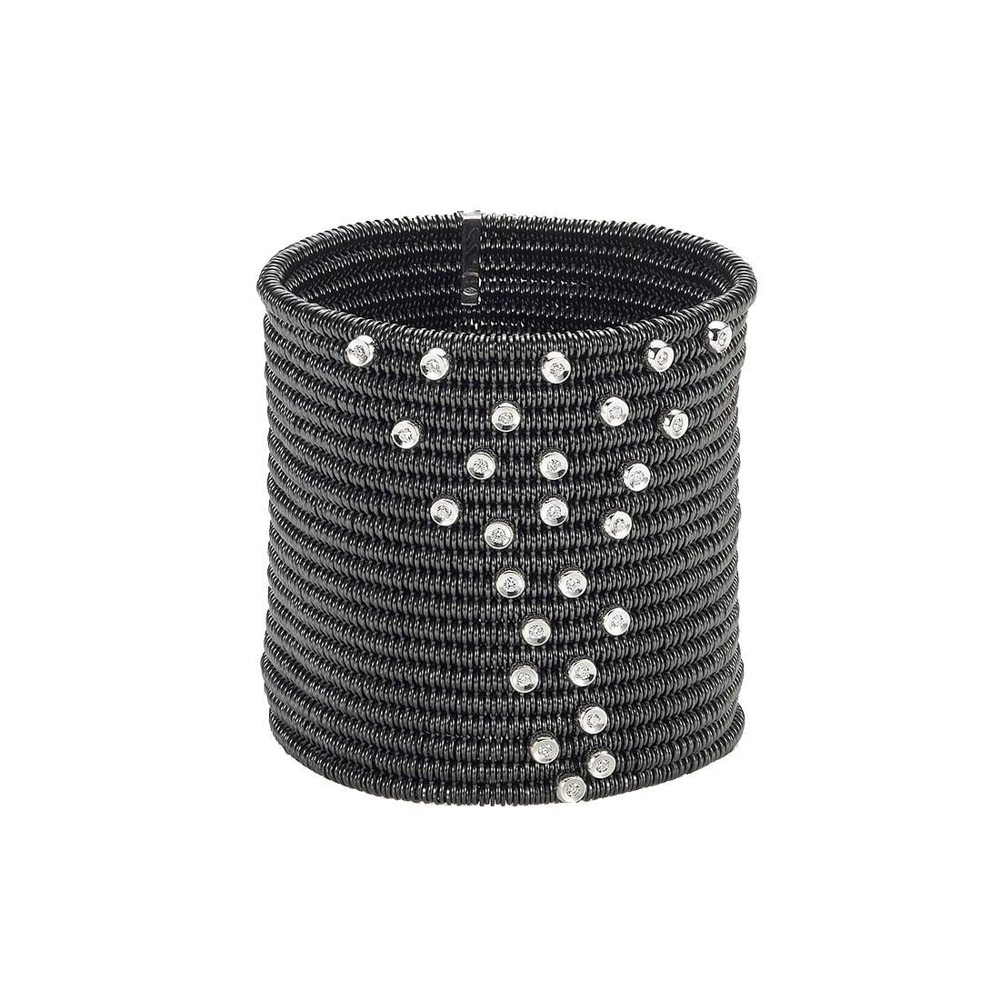 Bracciale 20 file in ceramica nera con cascata tremblant in diamanti bianchi - ROBERTO DEMEGLIO